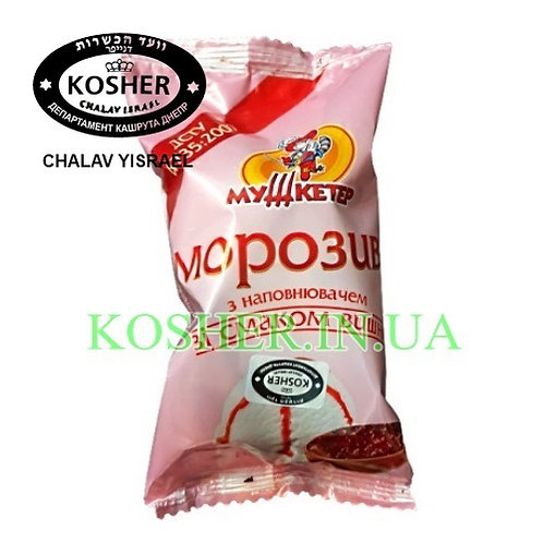 Мороженое кошерное Пломбир Вишня ваф/ст, Мушкетер, 80г/ גלידת פלומביר