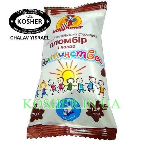 Мороженое кошерное Пломбир Какао ваф/ст, Мушкетер,70г/ גלידת פלומביר קקאו בגביע