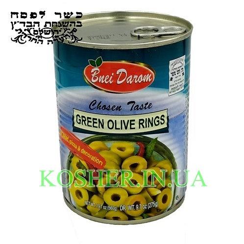 Оливки зеленые нарезанные кошер на ПЕСАХ, Bnei Darom, 540г