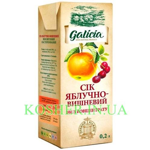 Сок кошерный Яблочно-Вишневый 100%, Galicia, тетрапак 0.2л