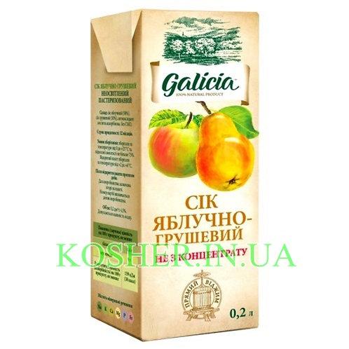 Сок кошерный Яблочно-Грушевый 100%, Galicia, тетрапак 0.2л