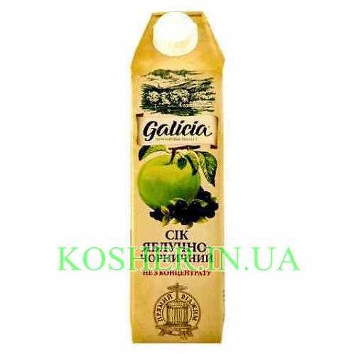 Сок кошерный Яблочно-черничный 100%, Galicia, тетрапак 1л