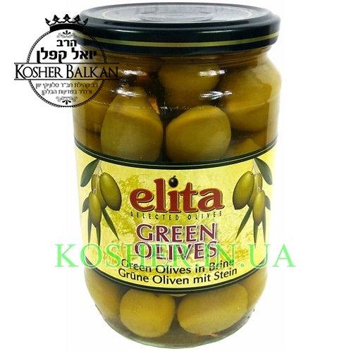 Оливки кошерные зелёные Гиганты целые, Elita, 700г