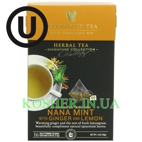 Чай травяной мята-имбирь-лимон, Wissotzky, 16пак