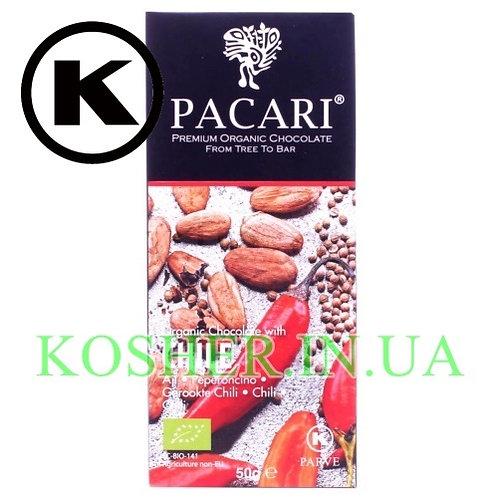 Шоколад кошерный Органический с перцем Чили, Pacardi,50г/ שוקולד אורגני עם צ'ילי