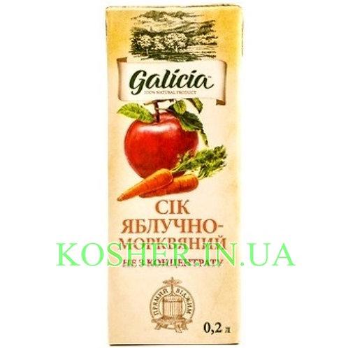 Сок кошерный Яблочно-Морковный 100%, Galicia, тетрапак 0.2л