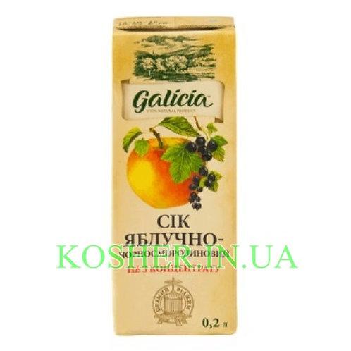 Сок кошерный Яблочно-Черносмородиновый 100%, Galicia, тетрапак 0.2л