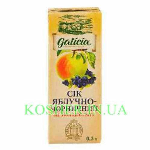 Сок кошерный Яблочно-черничный 100%, Galicia, тетрапак 0.2л