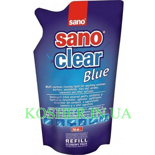 Для мытья Стекол CLEAR BLUE, Sano, запаска, 750мл