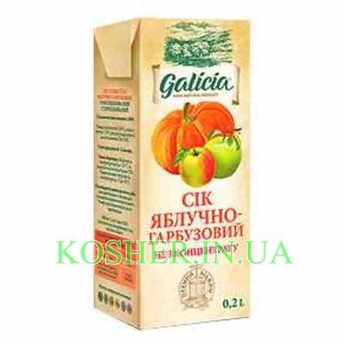Сок кошерный Яблочно-Тыквенный 100%, Galicia, тетрапак 0.2л