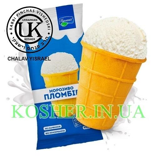 Мороженое кошерное Пломбир Ванильное ваф/ст 15%, УК, 65г / גלידת פלומביר וניל