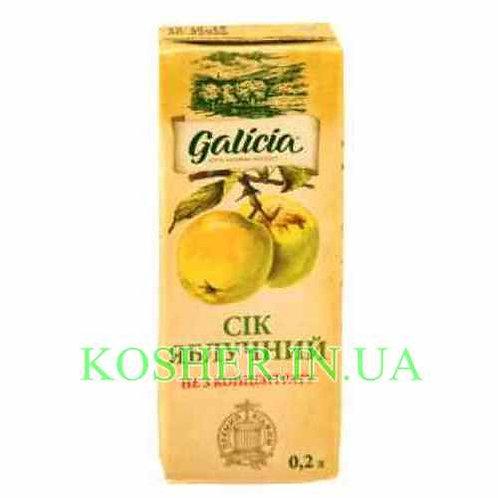 Сок кошерный Яблочный 100%, Galicia, тетрапак 0.2л