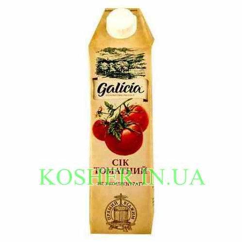 Сок кошерный Томатный с солью 100%, Galicia, тетрапак 1л