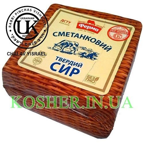 """Сыр кошерный """"Сметанковый"""" 50%,Ферма,гол. вес/ גבינה צהובה """"סמעטנקוביה"""" ~2,5 ק""""ג"""