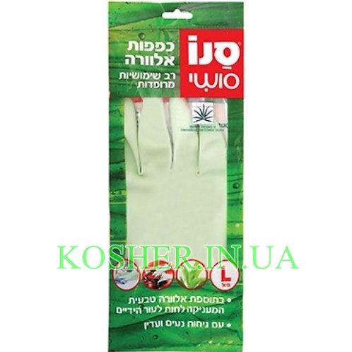 Резиновые перчатки многоразовые с экстрактом Алое, Sano Sushi, размер L