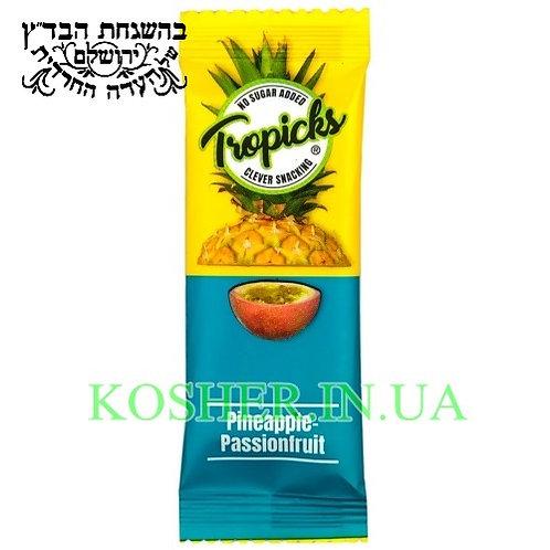 Батончик фруктовый кошерный Маракуя-Ананас, Tropicks, 20г