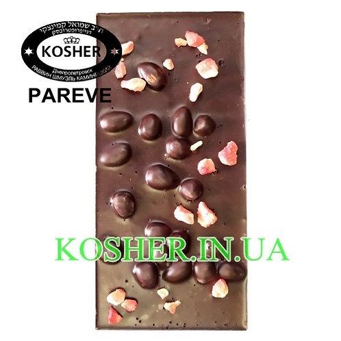 Шоколад кошерный Фундук-Миндаль-Клубника 770 74%, Millenium, 100г / שוקולד מריר