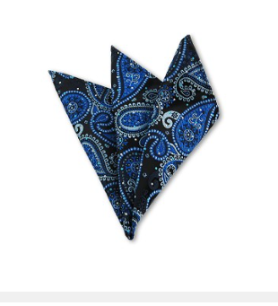 DH-02 | STEEL BLUE, LIGHT BLUE AND BLACK WOVEN PAISLEY HANDKERCHIEF