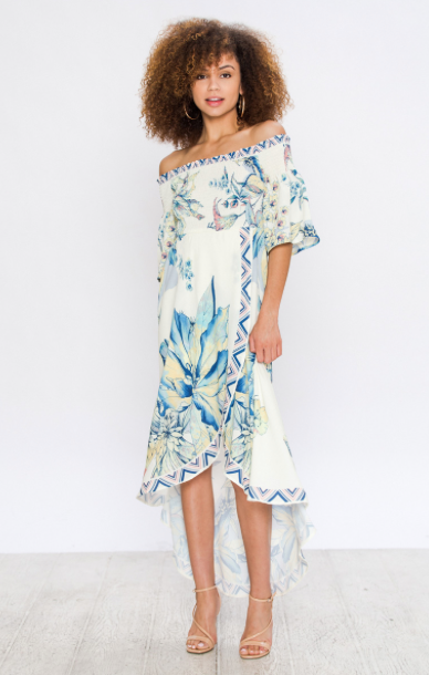 OFF-THE-SHOULDER FLORAL WRAP DRESS WITH RUCHED UPPER