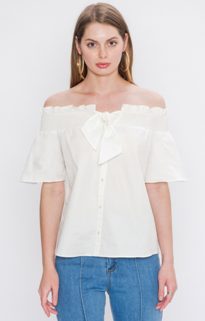 OFF-THE-SHOULDER POPLIN TOP WITH SCARF TIE IN FRONT