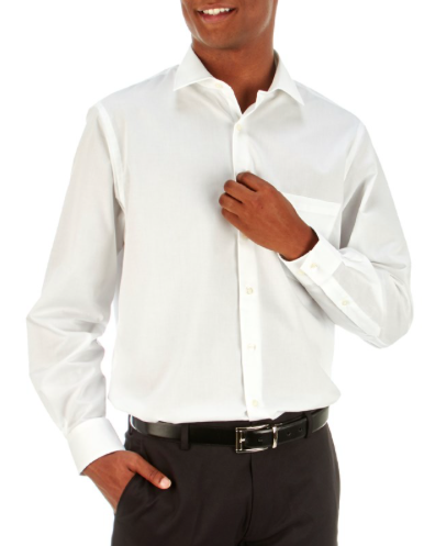 Mens Classic Fit Solid White Dress Shirt with Stretch Collar VAN HEUSEN
