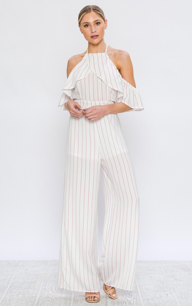 COLD SHOULDER PINSTRIPE JUMPSUIT WITH OVERLAPPING RUFFLES