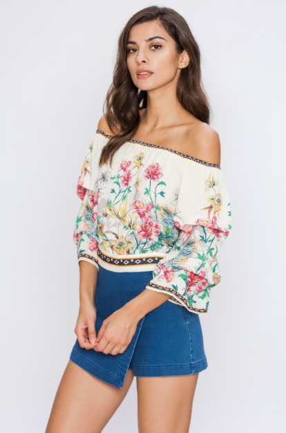 OFF-THE-SHOULDER FLORAL PRINT CROP TOP WITH TIED BACK