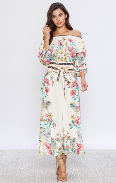 FLORAL PRINT CROPPED PALAZZO PANTS WITH FABRIC BELT