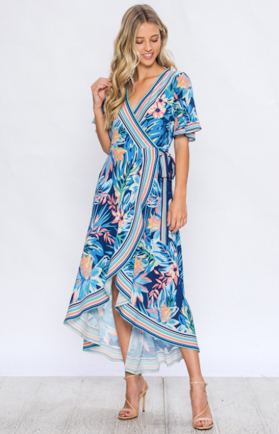 TROPICAL FLORAL PRINT WRAP DRESS WITH RUFFLED HEM