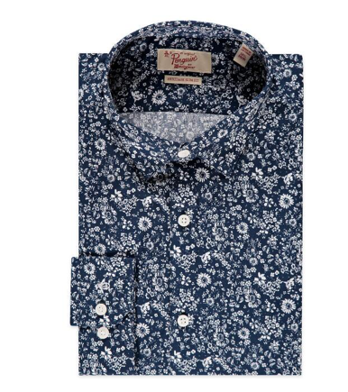 FAMOUS BRAND Floral Print Stretch Slim Fit Dress Shirt