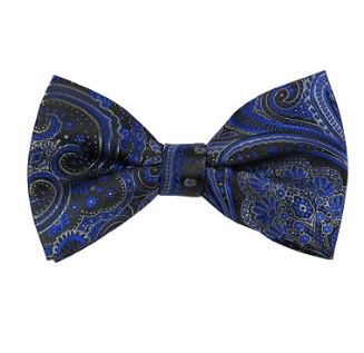BL-37 |  Royal Blue w. Charcoal Gray on Black Big Floral Paisley Woven Pre-Tied