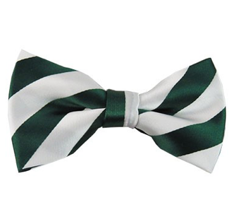 DSB-3720 | PRE-TIED FOREST GREEN AND WHITE COLLEGE STRIPE BOW TIE