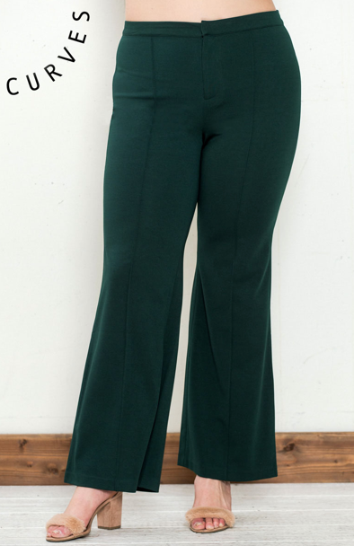 BOOT CUT STRETCH PANTS W/ FRONT SEAM