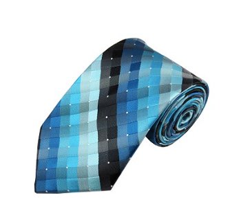 L-32 | MULTI-SHADE BLUE AND BLACK CROSS WEAVE WOVEN NECKTIE
