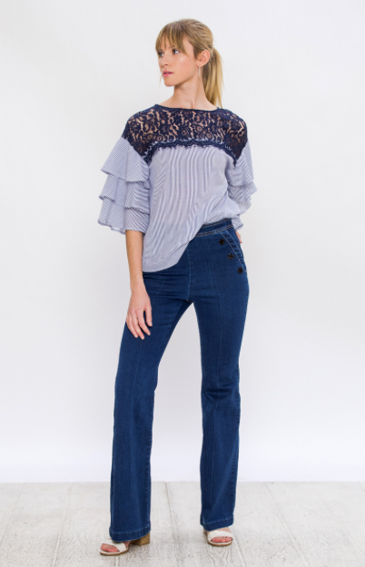 BELL PANT WITH BUTTON ON SIDE