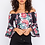 Thumbnail: OFF-THE-SHOULDER CROPPED SCUBA TOP WITH FLORAL PRINT