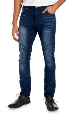 TRUE LUCK JEANS Bloome Moto Skinny Fit Jeans