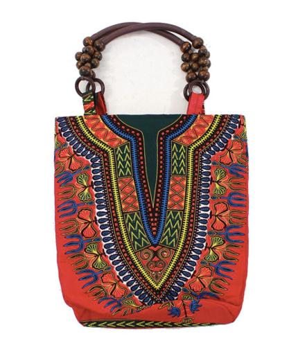 Traditional Print Beaded Tote Bag