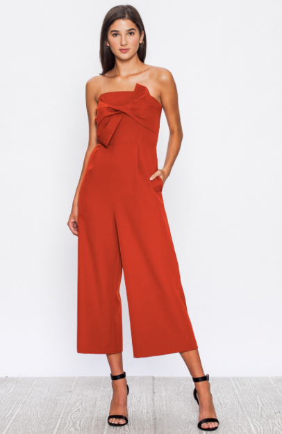SOLID BLACK JUMPSUIT WITH WIDE CROPPED LEG AND TWISTED FRONT