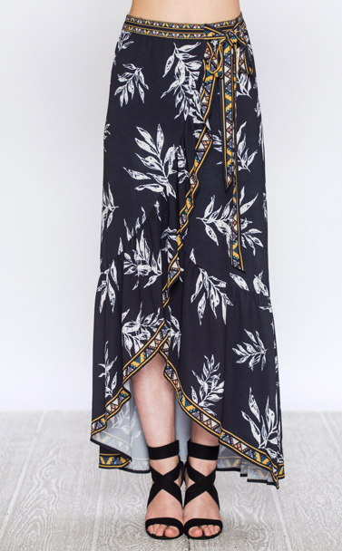 WRAP MAXI SKIRT WITH LEAF PRINT AND RUFFLED HEM