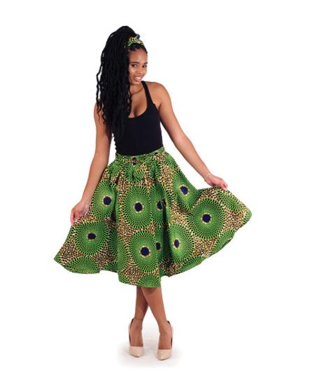 Circle Print Elastic Skirt