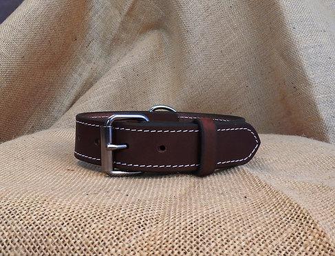 Kožený obojek, prošitý, šířka 3,4 cm
