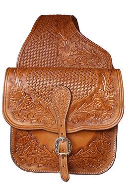 Kožené brašny na westernové sedlo, zdobené