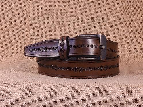 Kožený opasek, ručně zdobený č.1