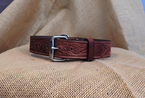 Kožený obojek, zdobený, šířka 3,8 cm