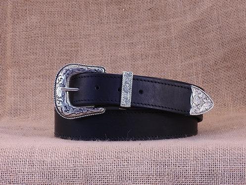 Kožený opasek, obšitý, zdobená přezka č.2, šířka 3,8 cm