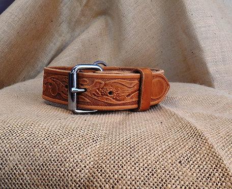 Kopie Kožený obojek, zdobený, šířka 3,8 cm
