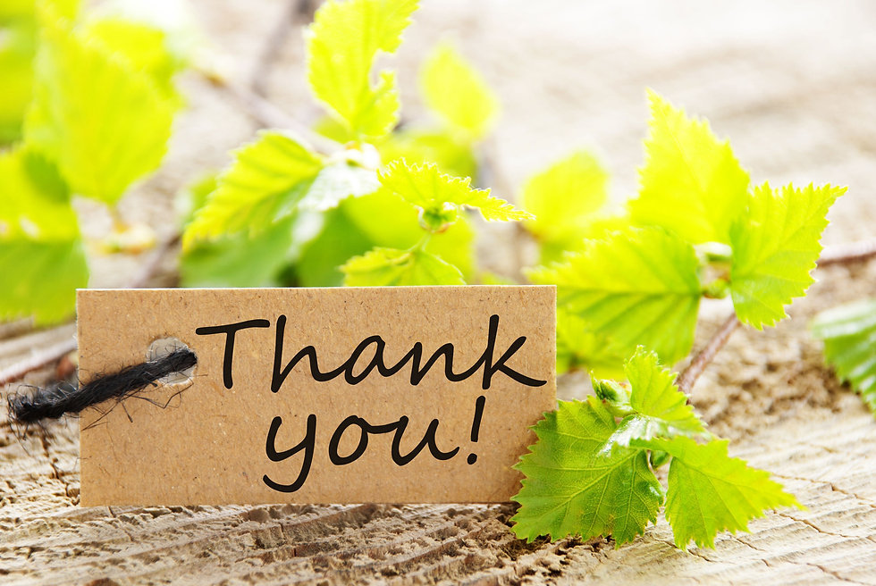 a natural looking label with thank you a