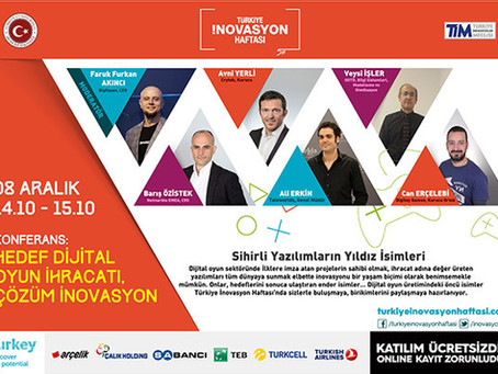 Türkiye İnovasyon Haftası'nda Oyun Konferansına Davetlisiniz