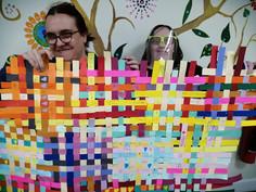 Paper weaving - growing each week - collaborative project.JPG